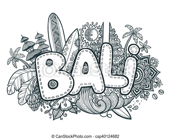Black Vector Bali Sign On Hand Drawn Doodle Style Symbols Of Island