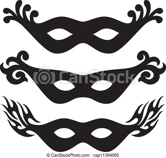 black vector carnival masks black masks for masquerade rh canstockphoto com