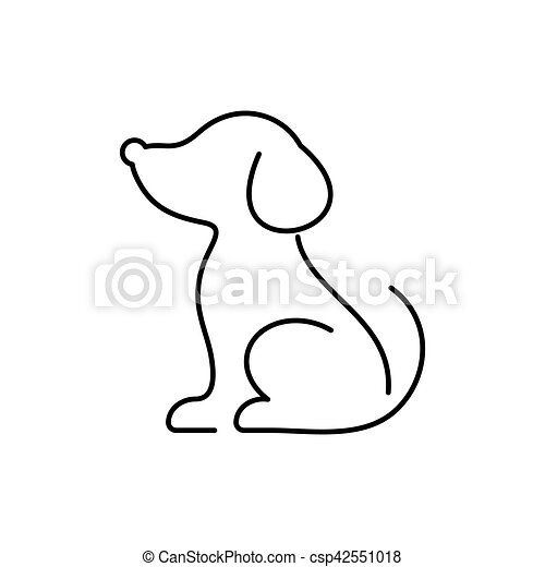 Black vector dog thin line icon - csp42551018