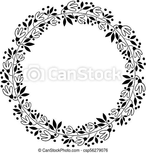 Black vector floral border wreath flower design for vectors black vector floral border wreath flower design for wedding invitations stopboris Choice Image