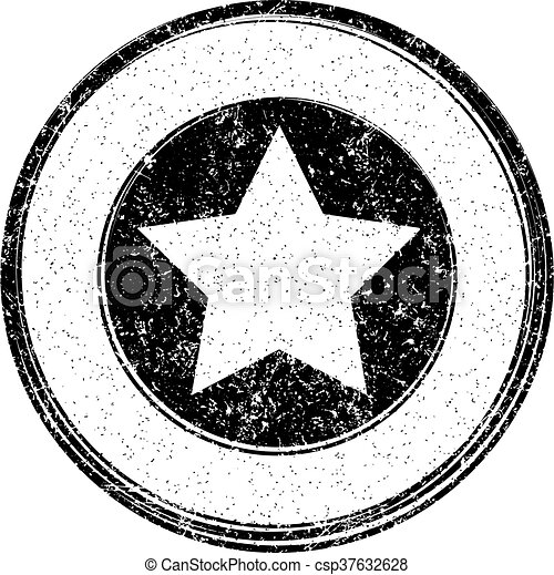 Black vector grunge template with star for rubber stamp - csp37632628