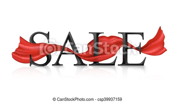 Black vector SALE sign with red silky ribbon - csp39937159