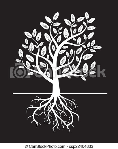 black vector tree and roots - csp22404833
