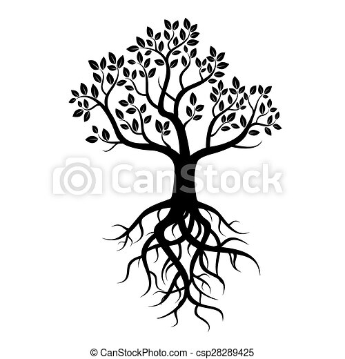 Black vector tree and roots - csp28289425