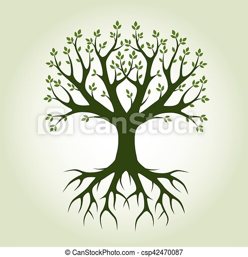 Black vector Tree and Roots. Vector Illustration. Park and Nature. - csp42470087
