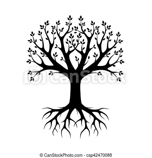 Black vector Tree and Roots. Vector Illustration. Park and Nature. - csp42470088