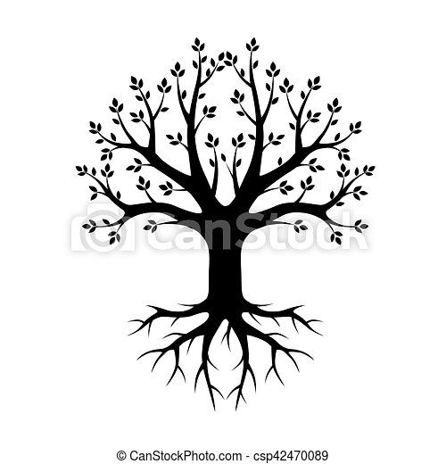 Black vector Tree and Roots. Vector Illustration. Park and Nature. - csp42470089