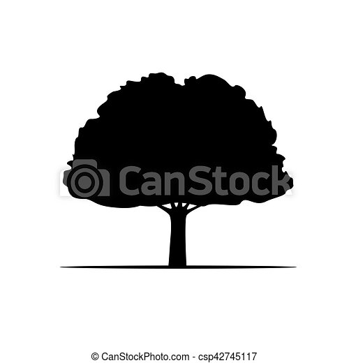 Black Vector Tree and Roots. Vector Illustration. - csp42745117
