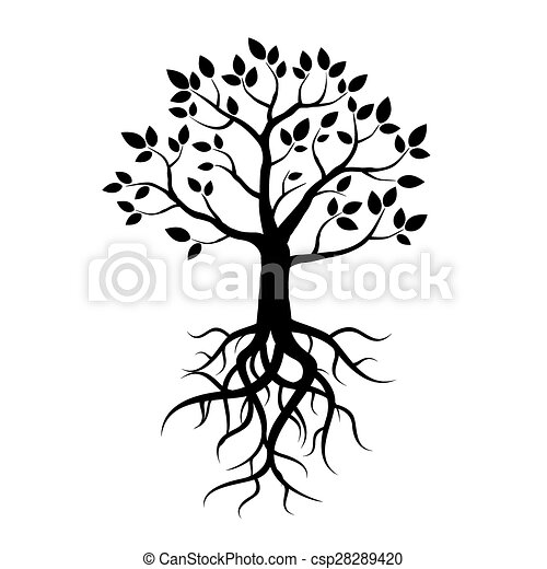 black vector tree leafs and roots black vector tree and vector rh canstockphoto com sg tree with roots vector free tree with roots vector free