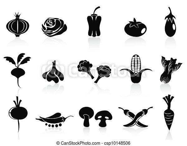 black vegetable icons set - csp10148506