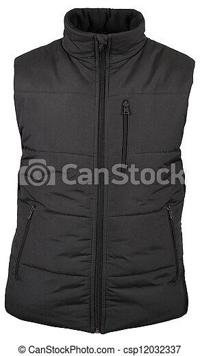 black vest with zipped pocket isolated on white background - csp12032337