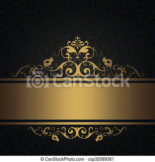 Black Vintage Background With Gold Border Stock Illustration
