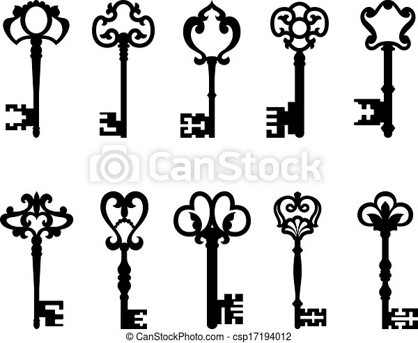 black vintage keys set isolated on white background for vector rh canstockphoto com vintage clip art free vintage clip art websites