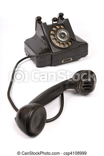 Black vintage phone with scratches  - csp4108999