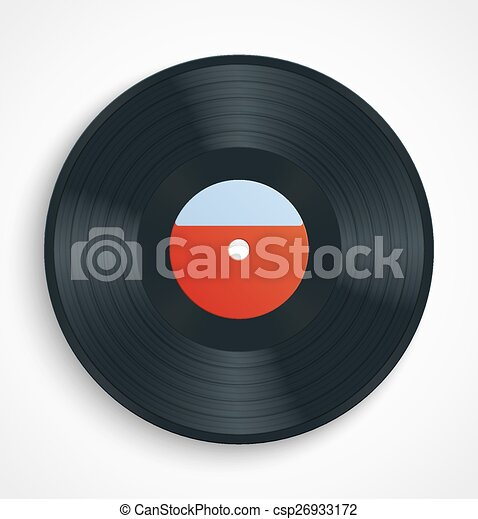 black vinyl record album disc with blank red label vector illustration