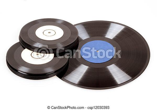 black vinyl records isolated on white - csp12030393