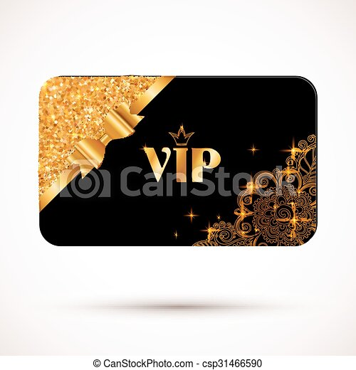 Black vip card template with glitter effect and golden bow - csp31466590