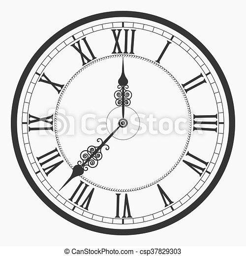 Black Wall Clock Roman Numeral Old Vintage Clock Face Vector