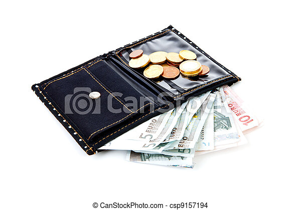black wallet with euro money - csp9157194