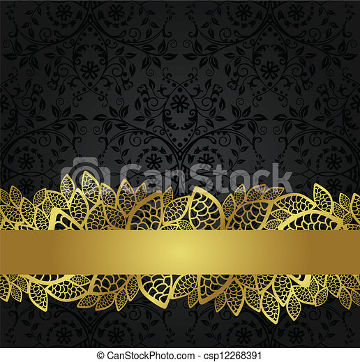 Black wallpaper and golden banner - csp12268391