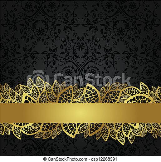 Black wallpaper and golden banner - csp12268391