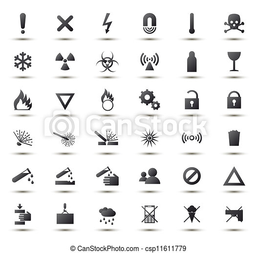 Black Warning And Danger Signs Collection