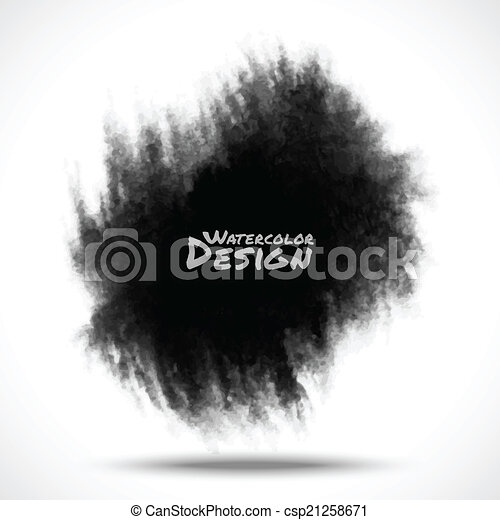 Black Watercolor splatter. - csp21258671