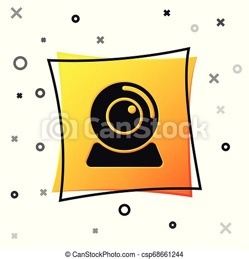 Black Web camera icon isolated on white background. Chat camera. Webcam icon. Yellow square button. Vector Illustration - csp68661244