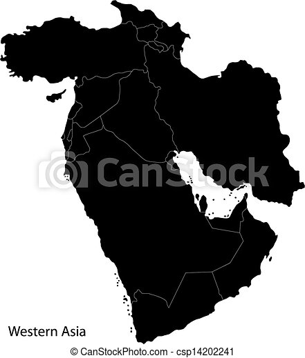 Black Map Of Asia.Black Western Asia Map