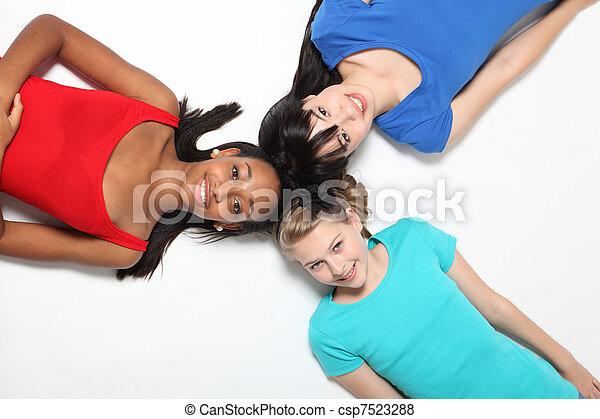 girls asian Black white