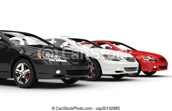 Black white and red fast cars.