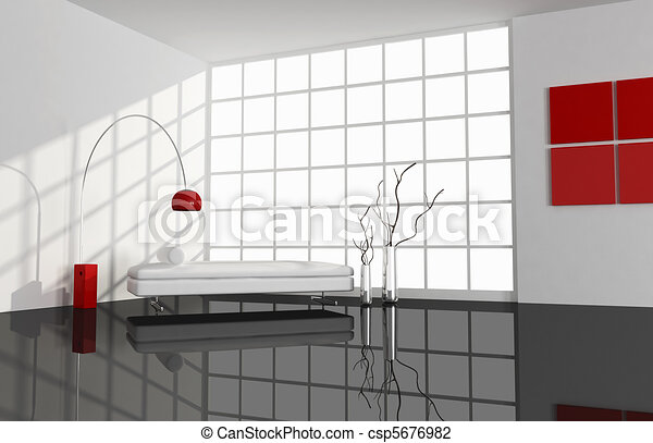 black ,white and red minimal living room - csp5676982