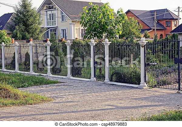 Barriere Maison black-white, barrière, maison, privé, guichet, rue, jardin