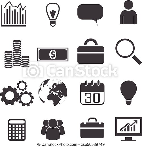 Black White Business Icons Set Black White Business Icons Set With Investment Leadership And Team Idea And Communication Canstock