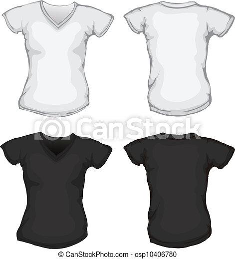 Black white female v-neck shirt template.