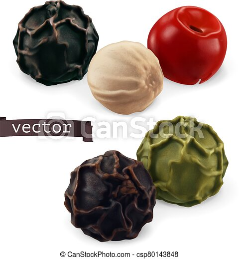 Black, white, green, pink pepper. Peppercorn close-up. 3d realistic vector illustration - csp80143848