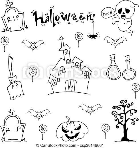 Black White Halloween Doodle Vector Art Flat