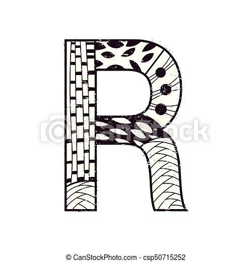 Black White Letter R In Zen Art Style
