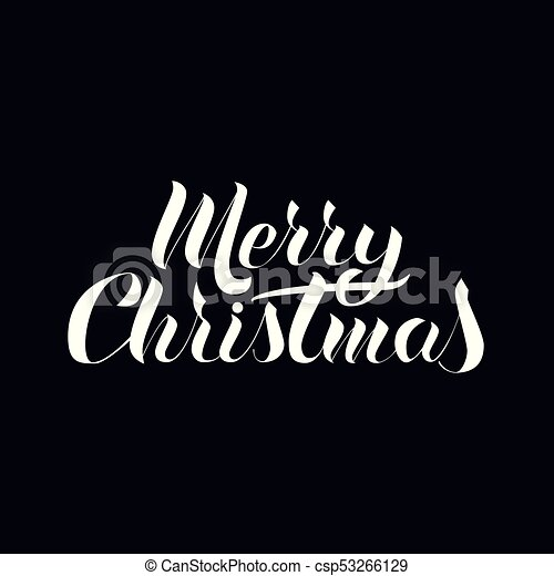 Black White Lettering In The Popular Style Of Merry Christmas