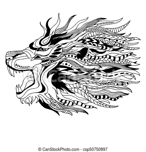 Black white lion head zen art style tattoo design csp50750897