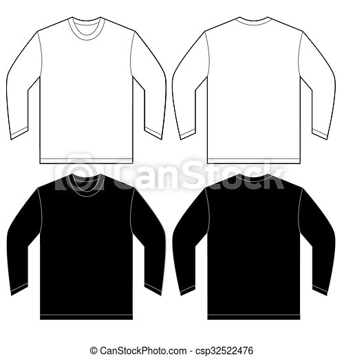 Black White Long Sleeve T Shirt Design Template Vector Illustration