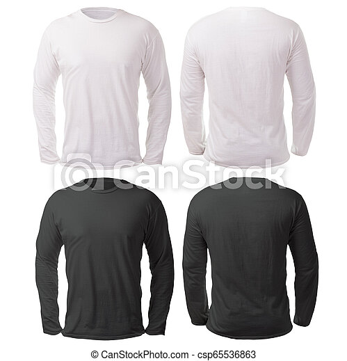 Black White Long Sleeved Shirt Design Template Blank Long Sleeved Shirt Mock Up Template Front And Back View Isolated On Canstock