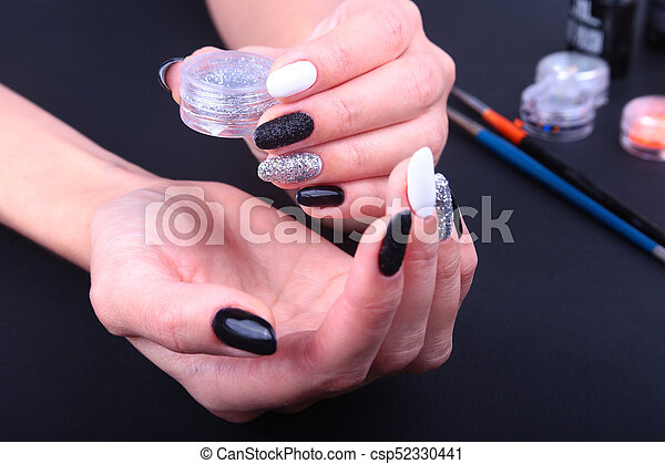 Black White Nail Art Manicure Holiday Style Bright Manicure With