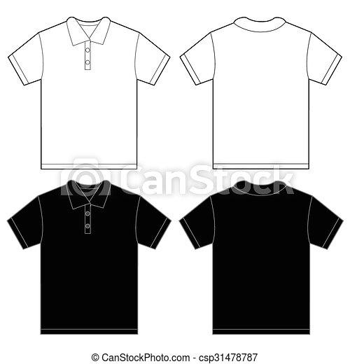 Black white polo shirt design template for men. Vector illustration ...