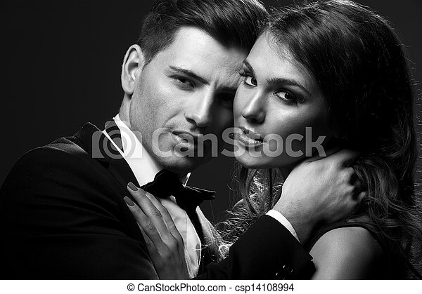 Black white portrait of a sexy couple csp14108994