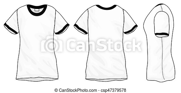 Black White Ringer T Shirt Design Template Vector Illustration Of