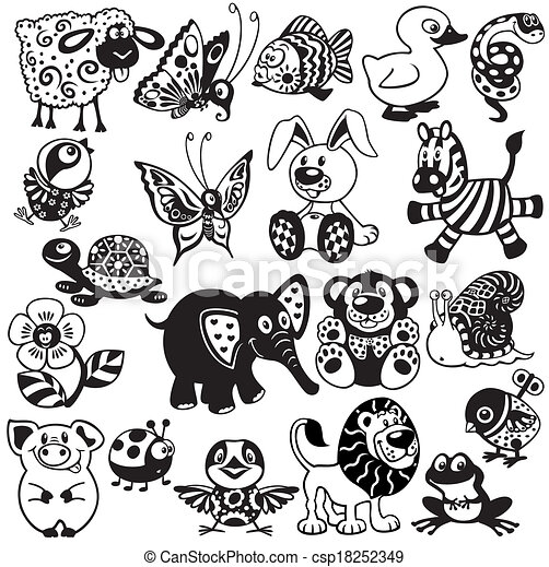Black White Set For Kids Set With Cartoon Animals And Toys For