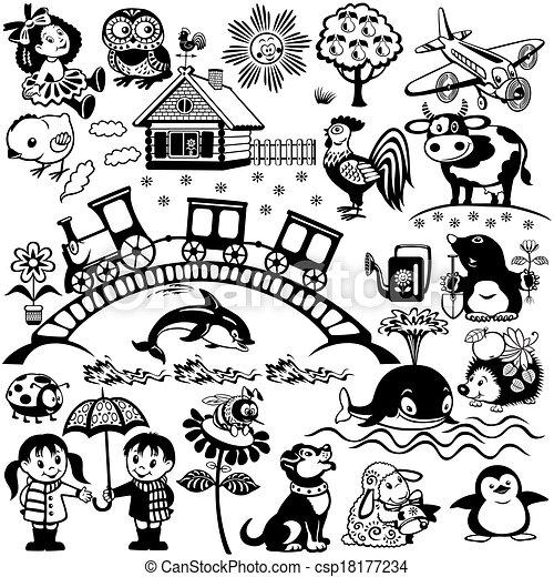 black white set for kids - csp18177234