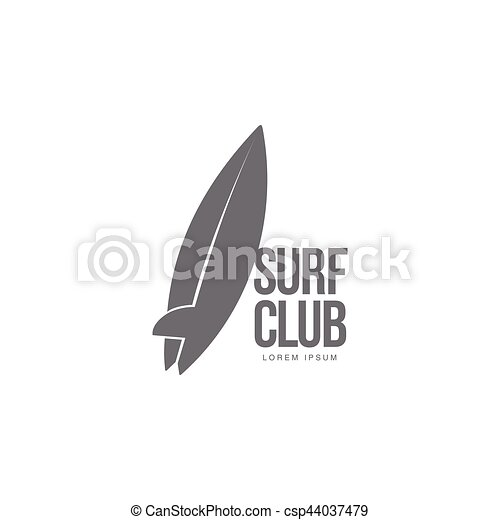 Black, white surfing logo template with surfboard leaning on ...