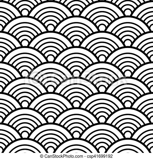 black white traditional wave japanese chinese seigaiha pattern rh canstockphoto com au Ocean Wave Vector Clip Art Japanese Borders Clip Art